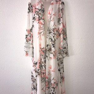 Peach Long Kimono  Duster by  Love California